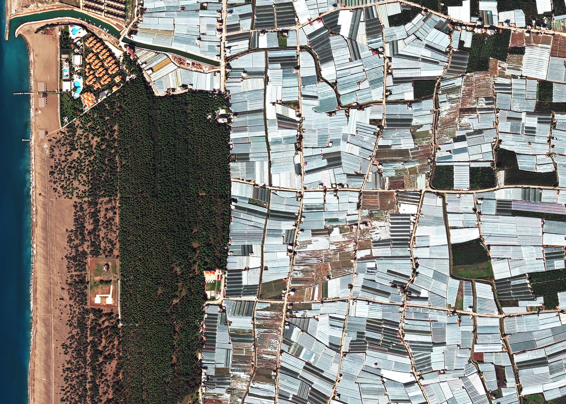 A whirlwind leaves a path of destruction through a region of greenhouses | Antalya, Turkey | 16 November 2017