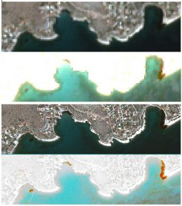 13 September 2017   A comparison prepared by the DLR Maritime Safety and Security Lab shows the difference in the 10m resolution data from Sentinel-2 (upper two images, © Copernicus data [2017]) and the 50cm resolution data from GeoEye-1 (lower two images, © European Space Imaging).
