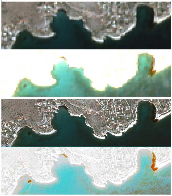13 September 2017 | A comparison prepared by the DLR Maritime Safety and Security Lab shows the difference in the 10m resolution data from Sentinel-2 (upper two images, © Copernicus data [2017]) and the 50cm resolution data from GeoEye-1 (lower two images, © European Space Imaging).