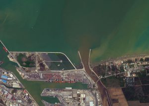 The muddy river flowing into a turbulent Mediterranean. ? by WorldView-2 @ 50cm resolution