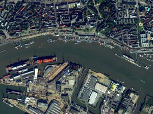 Port facilities in Hamburg, Germany imaged by WorldView-2, 3 Oct 2015.