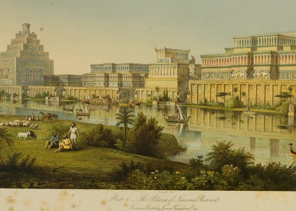 Artist rendering of the Palace at Nimrud in its original condition