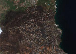 Fire damage in Rafina, Greece