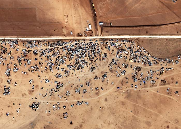 Vehicles trapped inside the Tel Shair Corridor (minefield) near the Syria-Turkey Border | Captured by WorldView-2 | 22 October 2014