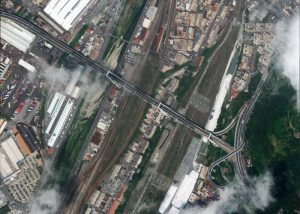 Morandi Bridge before the collapse at 30cm resolution. ? 8/07/2018 by WorldView-4 © 2018 European Space Imaging