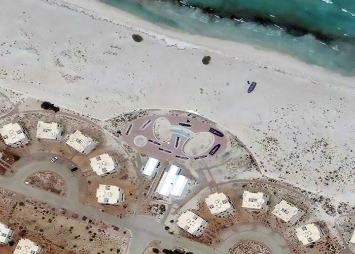 Ten inflatable boats on the Libyan coast, suspected of being used by people smugglers | Captured by WorldView-3 | 11 June 2017