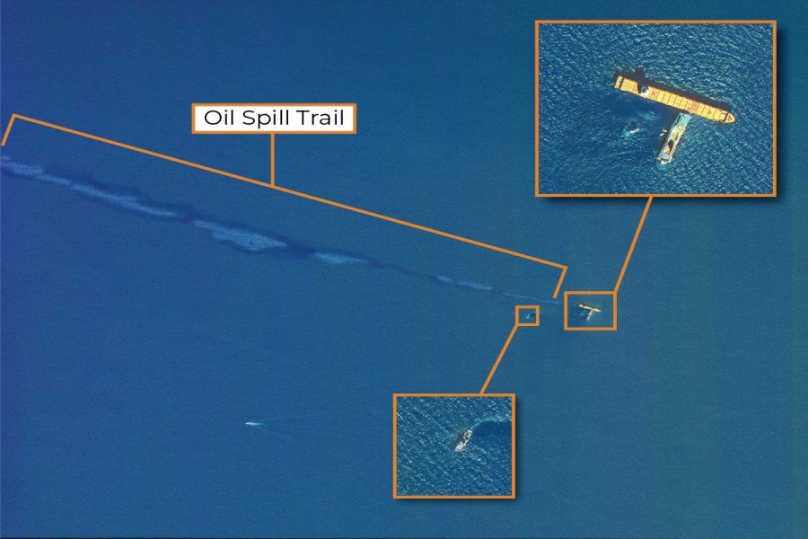 VHR satellite image used for emergency cleanup up operations after naval accident and oil spill off the coast of Corsica in 2019.