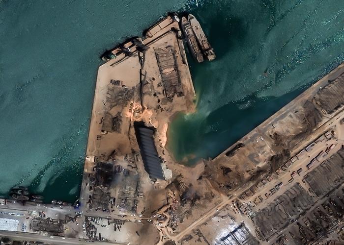 Citra Satelit menunjukkan Kerusakan Ledakan di Beirut, Lebanon