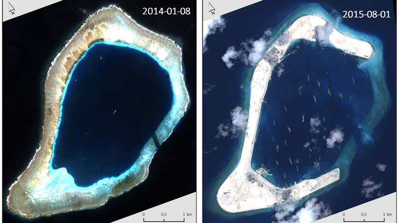 Subi Reef VHR image data on January 2014 (left) and August 2015 (right) ©DigitalGlobe, 2016